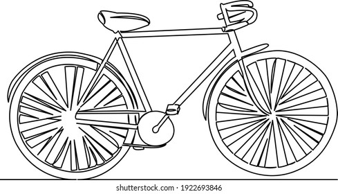 One continuous single drawing line art flat doodle art, continuous, one line, bicycle, happy, ride, leisure. Isolated image hand draw contour on a white background