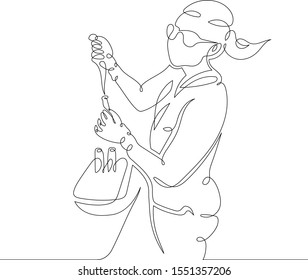 One continuous single drawn art line minimalism doodle hand biochemist in a bathrobe and glasses works in the laboratory. The concept of science and medicine. Isolated image minimalist illustration