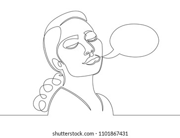 One continuous single drawn character line from comics.The head of a woman.Speech Balloon concept.
