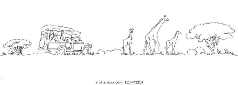 One continuous single drawn line safari panorama of Africa's giraffes landscape. Safari jeep with tourists. Wild nature . Tourist walk in the shroud.