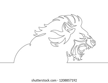One continuous single drawn line art doodle the head of a mane of a lion, toothy mouth of a predator, African cat animals