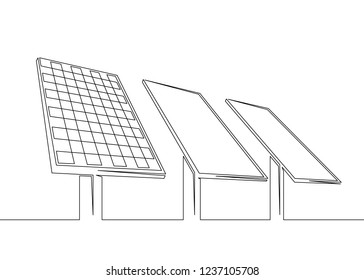 One continuous single drawn line art doodle solar battery, clean energy, renewable energy, ecology, solar power station.