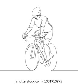 One continuous single drawn line art doodle man cyclist, bicyclist, cycler, wheelman, bicycler . Isolated image  hand drawn outline  white background.