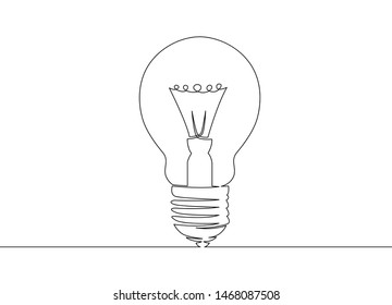 One continuous single drawn line art doodle lamp, bulb, idea, light, solution, electric, energy, innovation, lightbulb, man.Isolated image  hand drawn outline  white background.