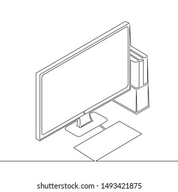 One continuous single drawn line art doodle monitor, computer, isometric, keyboard, book, technology, illustration, desktop  . Isolated image  hand drawn outline  white background.
