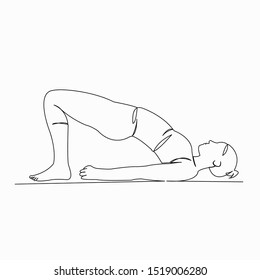 One continuous single drawn line art doodle yoga, exercise, pose, female, asana. isolated image hand-drawn contour on a white background