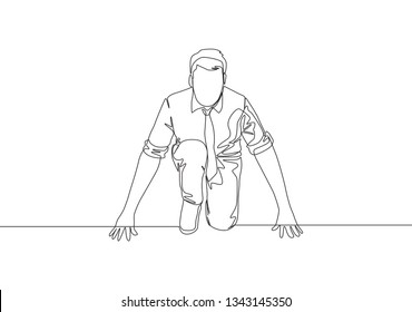 One continuous single line drawing of young happy businessman gets ready to doing sprint run on running track, from front view. Business race concept single line draw design illustration