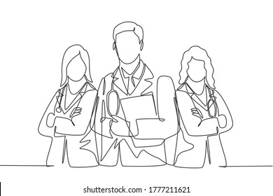 One continuous single line drawing group of young male and female doctors pose standing together while holding medical report. Teamwork medical concept single line draw design vector illustration