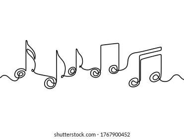 Eine durchgehende einzelne Linie eines Treppenkreuzes wird von einer einzigen schwarzen Linie auf weißem Hintergrund gezeichnet. Der Akkord, der klassische Musik kreiert. Schreib handgezeichnet doodle Sketch Minimalismus Stil