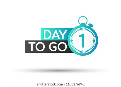 One day to go label, red flat with alarm clock, promotion icon. Vector stock illustration.
