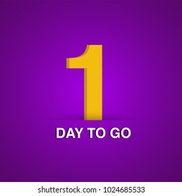 ONE DAY TO GO with purple background