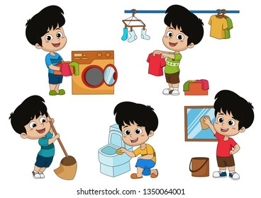 One day the kid helps parents do many things such as mopping,laundry,washing clothes,clean the toilet and clean the glass.Vector and illustration.