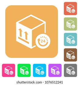 One day package delivery flat icons on rounded square vivid color backgrounds.