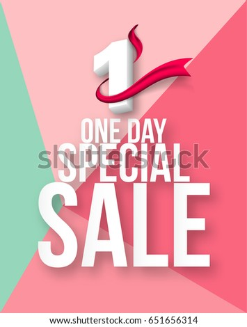 One Day Sale Banner Template Design Stock Vector Royalty Free