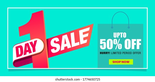 One day Sale web banner for online marketing. Digital Promo. Upto 50% off shop now.