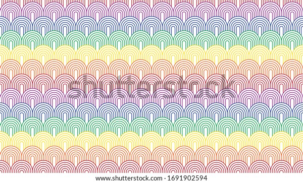One directional circular arc with color combinations of a rainbow