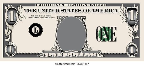 one dollar bill, simple vector illustrations details