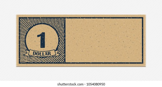 One dollar merchandise coupon. High detail grunge paper or cardboard. Vintage coupon. Retro coupon template. Vector illustration. Old style blank free discount coupon. Realistic vector illustration.