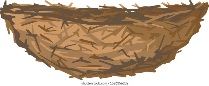 One empty brown birds nest in side view from small branches isolated, small nest of thin branches of trees and bushes