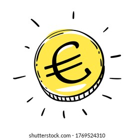 One euro coin of EURO European Union money. Gold Penny Coin shining currency symbol. Best offer and super sale price creative concept. Vector illustration.
