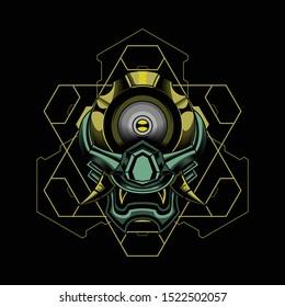 one eye devil ronin robotic vector illustration art design for t-shirt poster and other