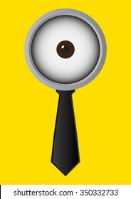 One eye glasses or goggles with black necktie on yellow background. Vector illustration business concept design.