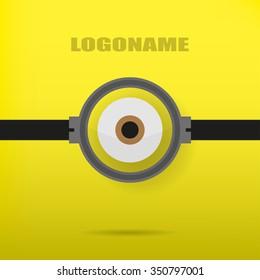 One eye on a yellow background illustration of a stylish logo