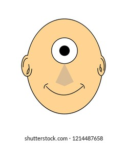 One eyed face cyclops, isolated