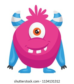 A one eyed pink colored monster with horns, zazzle monster