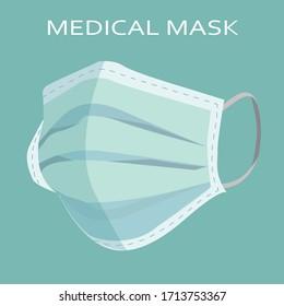 One face mask vector image, medical mask. Vector illustration.