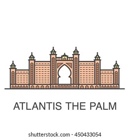 One of famous Dubai resort hotel colored illustration - Atlantis The Palm.