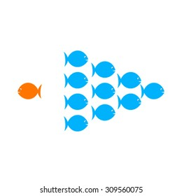 one fish choose different or opposite path for success in life concept vector