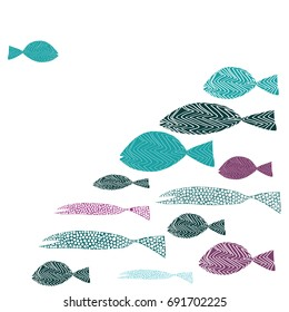 One fish swimming against many fish. Turquoise and purple fishes. Vector illustration on white background