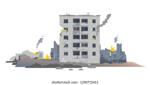 One five-story eastern european destroyed building between the ruins and concrete, war destruction concept illustration isolated on white background