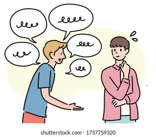 One foreigner speaks a foreign language and the other does not understand it. hand drawn style vector design illustrations.