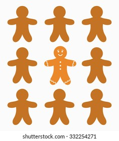 The one gingerbread man. Vector illustration