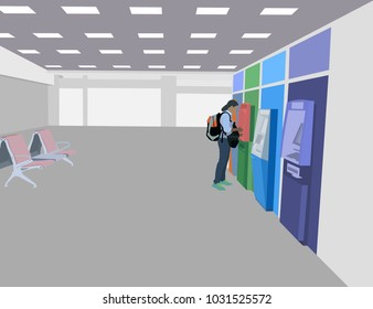 One girl using an ATM in the Airport passenger room scene vector technology background