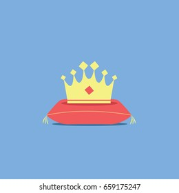 a one gold crown cartoon symbol with a red diamond fla design style on a cushion or on a royal pillow. throne isolated icon for king, prince, princess or queen