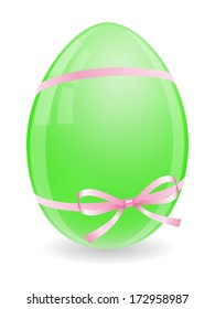 One green easter egg with pink bow and ribbons isolated on white background. Vector illustration