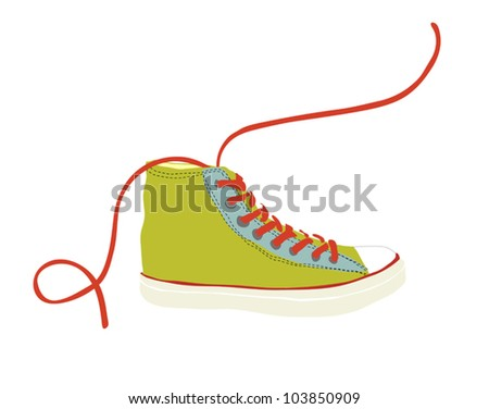 One Green Youth Hipster Sneaker Illustration Stock Vector Royalty