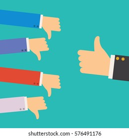 one hand of businessman leader boss or customer thumb up to their project,but many hands of team disagree the opinion or feedback - team work concept llustration
