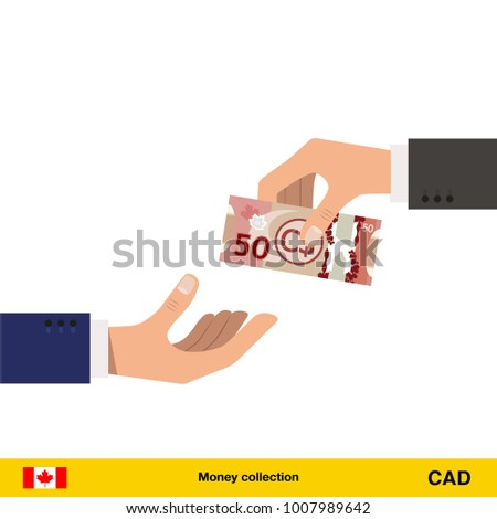 One Hand Gives Canadian Dollar Other Stock Vektorgrafik Lizenzfrei