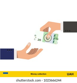 One hand gives  hryvnia in other hand