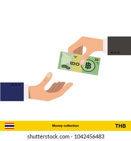 One hand gives  Thai baht in other hand