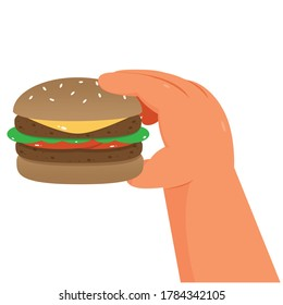 One hand holding a burger, on white background - illustration vector
