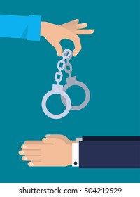 One hand is holding a handcuffs. A crime, corruption, arrest concept. Vector illustration flat design