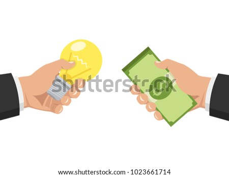 One Hand Holding Light Bulb Other Stock Vektorgrafik Lizenzfrei