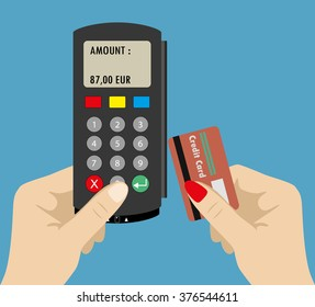One Hand holding pos terminal and second hand holding credit card. Using pos terminal concept. Flat style