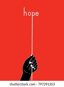 One hand is holding a rope that binds with hope.Black hand holding white rope on a red background