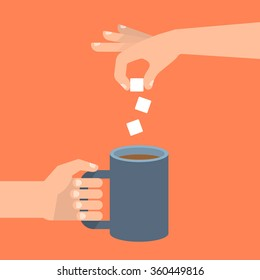 In one hand holds coffee cup, the other hand adds sugar cubes. Coffee time, coffee break concept. Isolated vector illustration flat style.